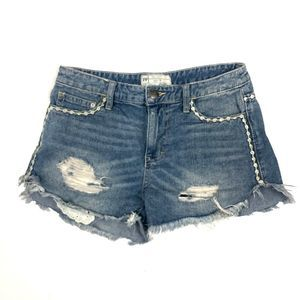 Free People Distressed Frayed Hem Jean Shorts 25